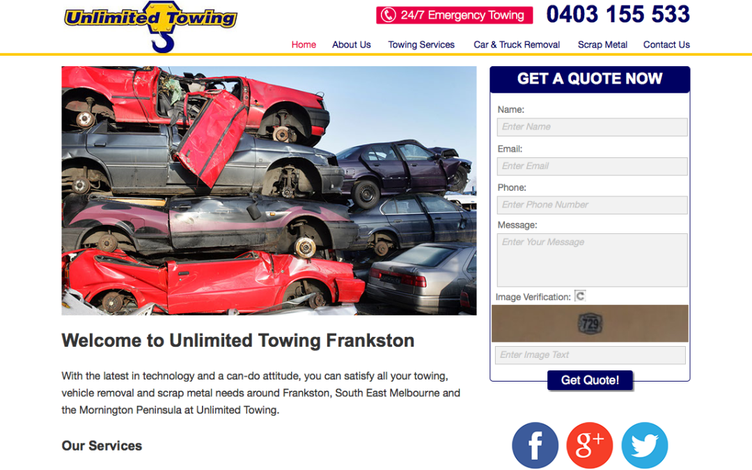 Unlimited Towing – web content