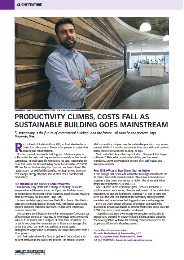 Facilities Perspectives article