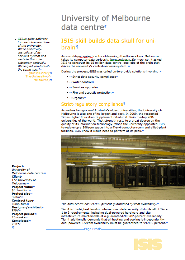 SHAPE project summary for University of Melbourne data centre refurbishment