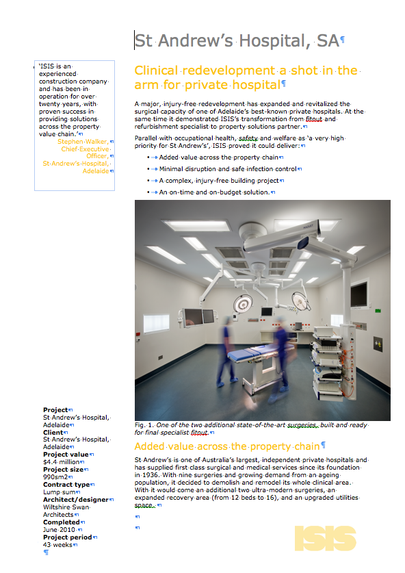 SHAPE (formerly ISIS) project summary – surgery additions at Adelaide's St Andrew's hospital